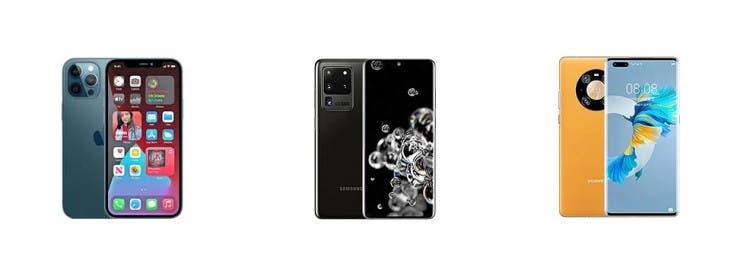 Apple iPhone 12 Pro Max vs Samsung Galaxy S20 Ultra vs Huawei Mate 40 Pro